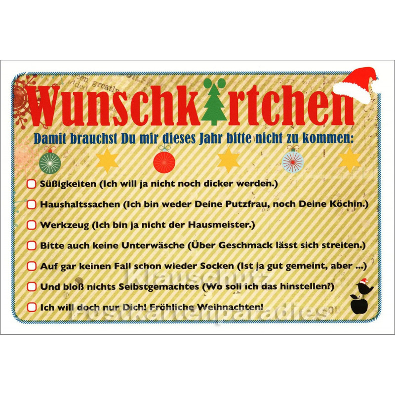 Wunschkärtchen | Mainspatzen / DiscordiaPostkarte Weihnachten