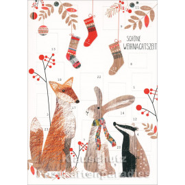 Doppelkarte Weihnachten von Discordia - Adventskalender mit Tieren - Schöne Weihnachtszeit
