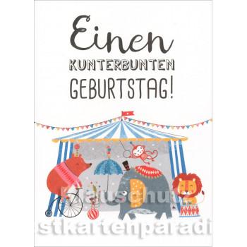 Einen kunterbunten Geburtstag | Little Greetings Midi-Doppelkarte mit Tieren von SkoKo