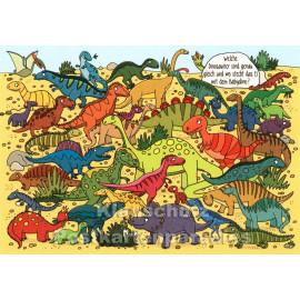 Lustige Wimmelbild Postkarte von SkoKo | Welche Dinosaurier sind genau gleich?