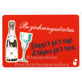 Lustige Mainspatzen Postkarte | Beziehungsstatus: Dinner for one, drinks for two.