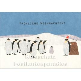 Holzschliffpappe Weihnachtskarten von Studio Blankensteyn | Fröhliche Weihnachten mit Pinguinen