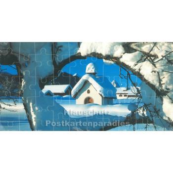 Schneelandschaft - Puzzle Card mit 50 Teilen