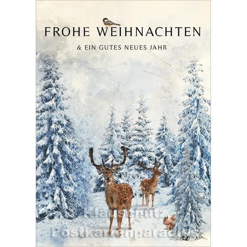 Frohe Weihnachten & ein gutes neues Jahr | Winter Weihnachtskarte vom POstkartenparadies