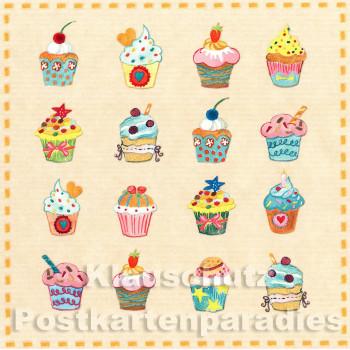 Quadratische Taurus Postkarte Geburtstag | Muffins