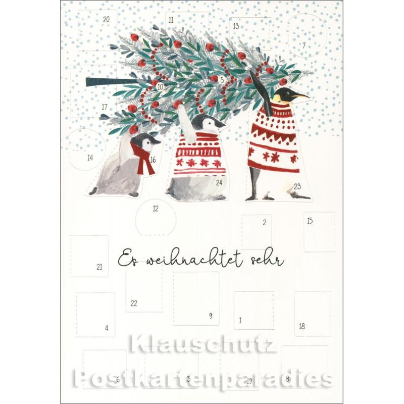 Doppelkarte Weihnachten von Discordia - Adventskalender mit Pinguinen - Es weihnachtet sehr