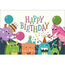 Happy Birthday Monster - Lustige Doppelkarte zum Geburtstag von SkoKo