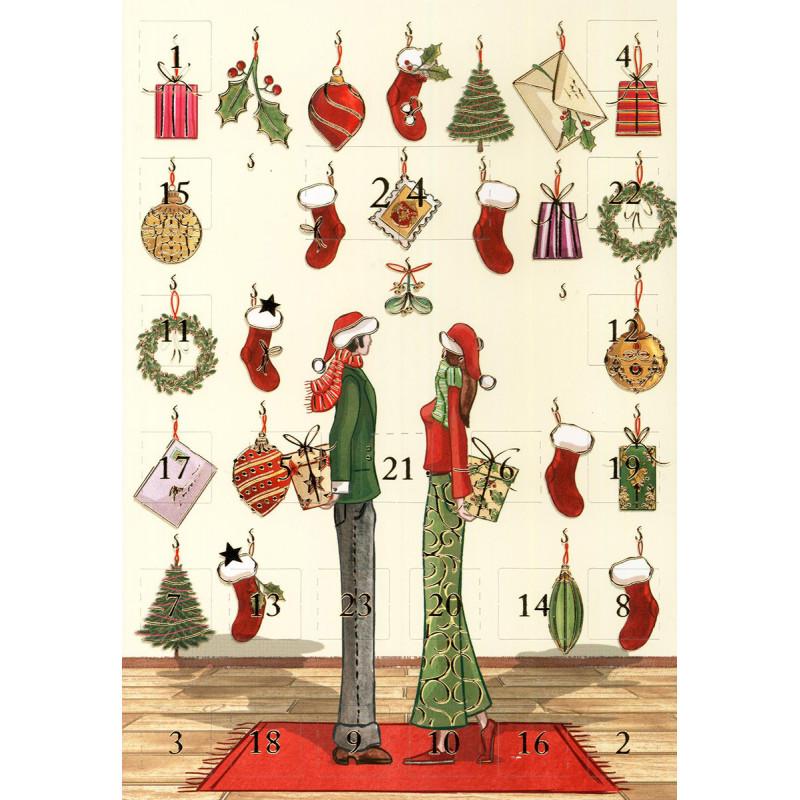 ActeTre Adventskalender Doppelkarte | Paar mit Geschenken
