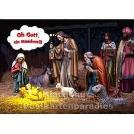 Postkarte: Oh Gott, ein Mädchen - Weihnachtskrippe