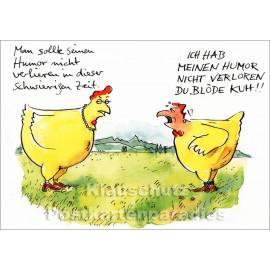 Discordia Postkarte von Peter Gaymann mit Hühnern | Blöde Kuh