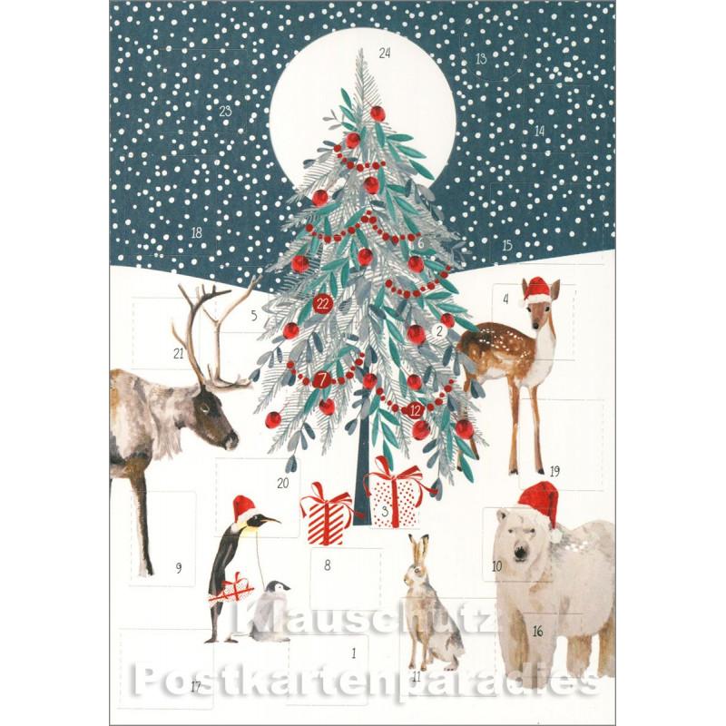 Doppelkarte Weihnachten von Discordia - Adventskalender mit Tieren und Weihnachtsbaum