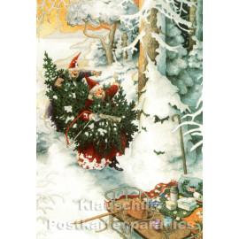 Inge Löök Taurus Weihnachtskarte | Die alten Frauen und der Schneegnom