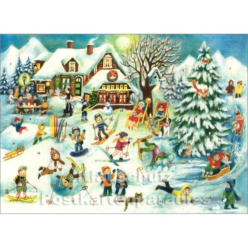 Nostalgie Adventskalender Doppelkarte - Winterfreuden