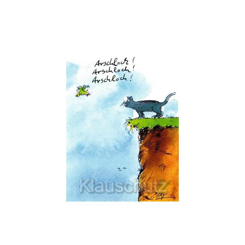 Arschloch - Katze und Vogel - Peter Gaymann Comic Postkarten