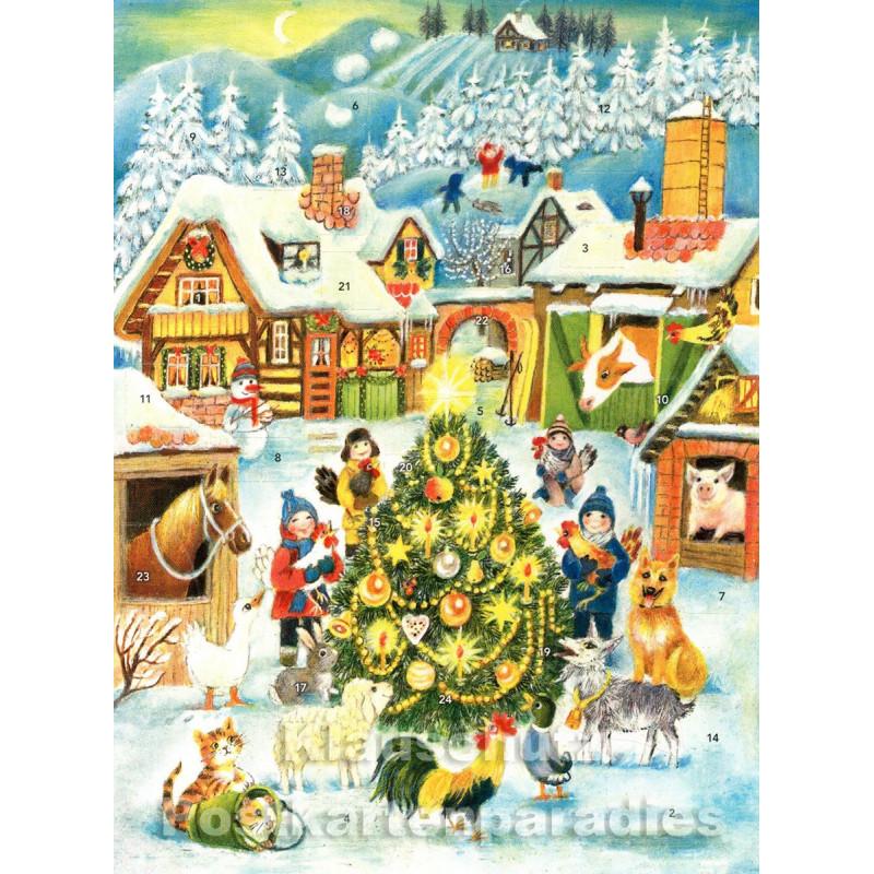Nostalgie Adventskalender Doppelkarte - Kinder und Weihnachtsbaum