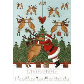 ActeTre Doppelkarte Adventskalender mit Weihnachtsmann und Elch