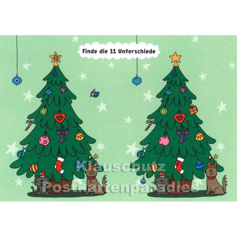 Weihnachtsbaum - Finde die 11 Unterschiede - SkoKo Wimmelbild Postkarte