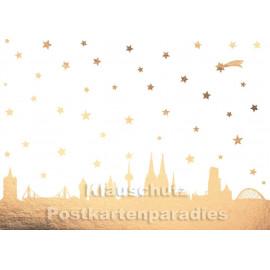 Goldfarbene kölsche Weihnachtskarte mit Köln Panorama von Cityproducts