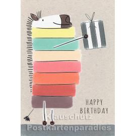 Geburtstag Doppelkarte von ActeTre mit buntem Zebra - Happy Birthday