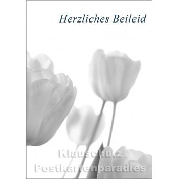 Postkartenparadies Doppelkarte Trauer mit Blumen - Herzliches Beileid