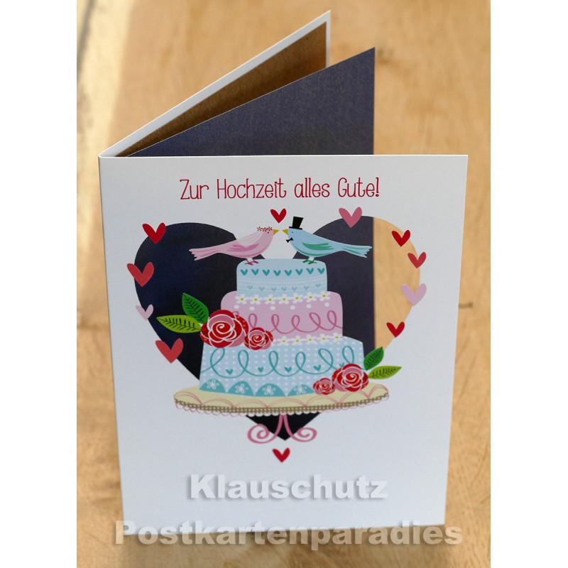 Zur Hochzeit alles Gute! - Lasergestanzte Doppelkarte zur Hochzeit von Discordia