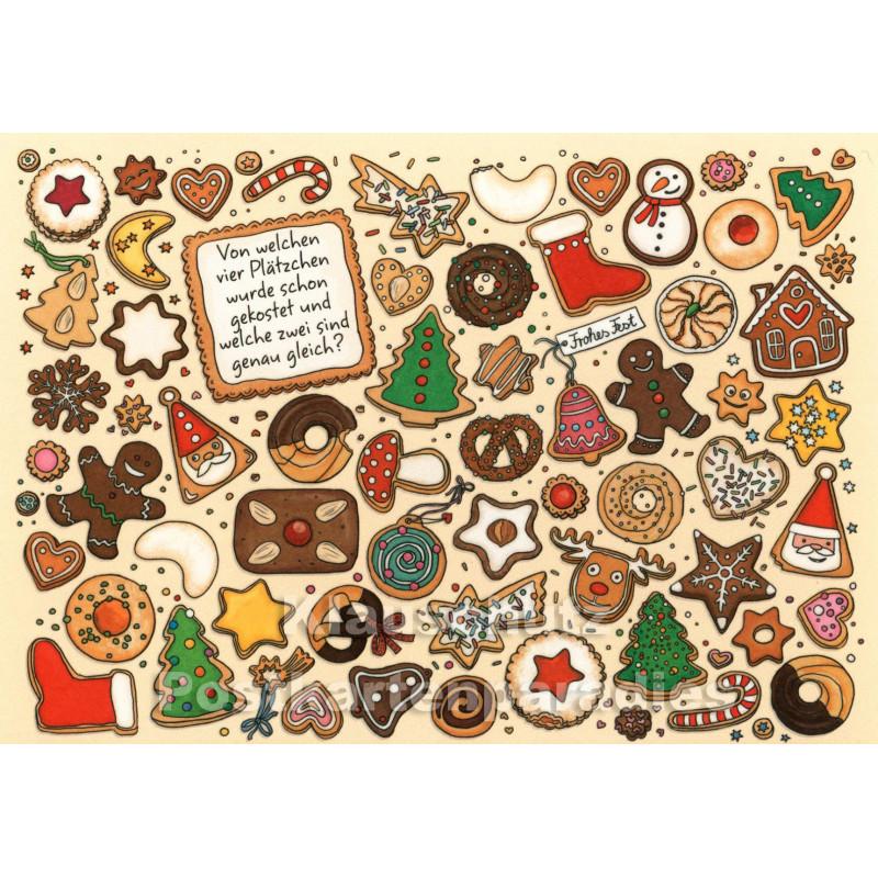SkoKo Wimmelbild Weihnachtskarte - Von welchem Plätzchen wurde schon gekostet?
