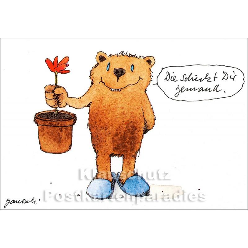 Janosch Postkarte mit Bär und Blume - Die schickt Dir jemand.