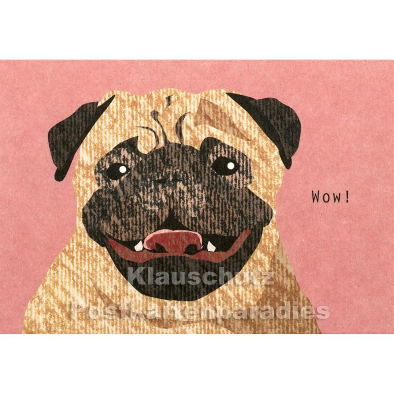 Holzschliffpappe Postkarten von Studio Blankensteyn - Hund - Wow!
