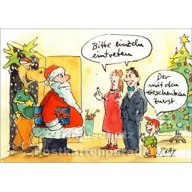 Einzeln eintreten | Peter Gaymann Weihnachtskarte von Discordia
