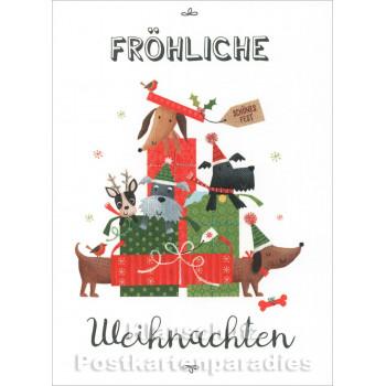 Fröhliche Weihnachten mit Hunden | SkoKo Little Greetings Midi-Doppelkarte