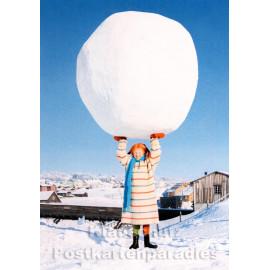 Kinder Postkarte Winter | Pippi Langstrumpf mit riesigem Schneeball
