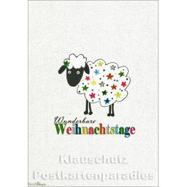 Taurus Weihnachtskarte buntes Schaf   Wunderbare Weihnachtstage
