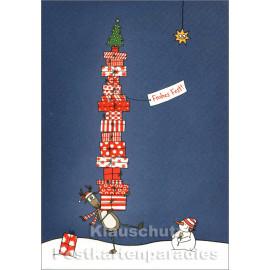 Lustige SkoKo Weihnachtskarte - Elch und Schneemann mit Geschenken