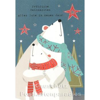 Schöne Weihnachten Doppelkarte von ActeTre mit Eisbären - Fröhliche Weihnachten