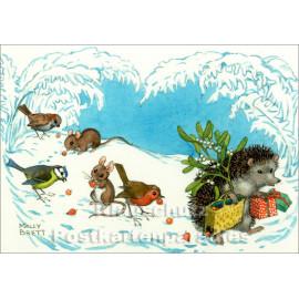 Taurus Kinder Postkarte zu Weihnachten | Der Igel mit Geschenken