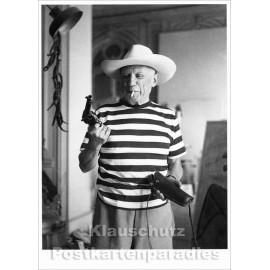 Taurus Foto Kunstkarte | Picasso mit Revolver