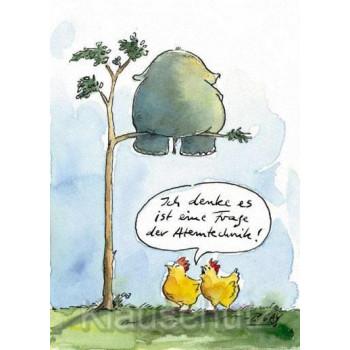 Eine Frage der Atemtechnik - Lustige Comic Postkarte von Peter Gaymann / Discordia