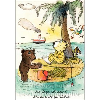 Janosch Postkarte mit Bär und Tiger - Dir lege ich meine kleine Welt zu Füßen.