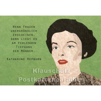 Holzschliffpappe Zitat Postkarte von Studio Blankensteyn   Katharine Hepburn