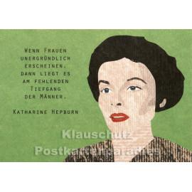 Holzschliffpappe Zitat Postkarte von Studio Blankensteyn | Katharine Hepburn