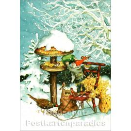 Inge Löök Weihnachtskarte | Wichtel füttert Vögel mit Vogelfutter