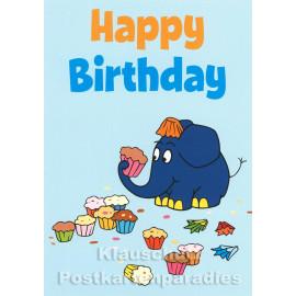 Maus Postkarte Geburtstag | Der Elefant futtert Törtchen - Happy Birthday