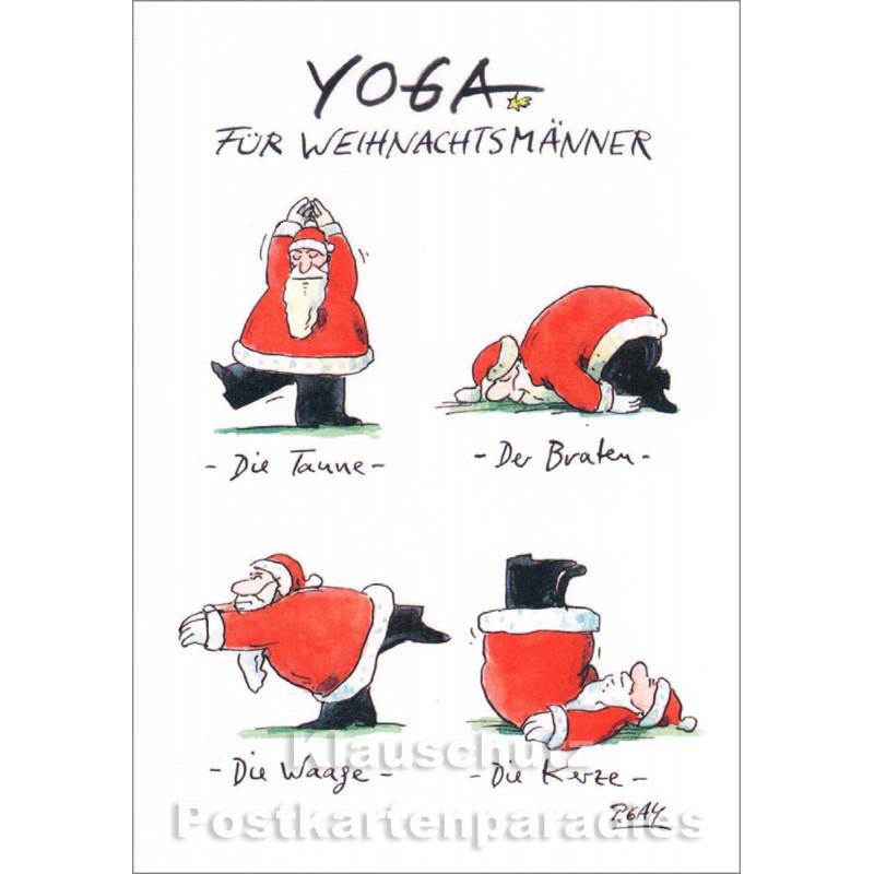 Doppelkarte Weihnachten Peter Gaymann von Discordia - Yoga für Weihnachtsmänner