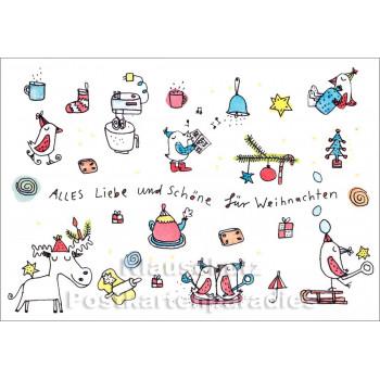 Alles Liebe und Schöne für Weihnachten | Wimmelbild Weihnachtskarte von karindrawings