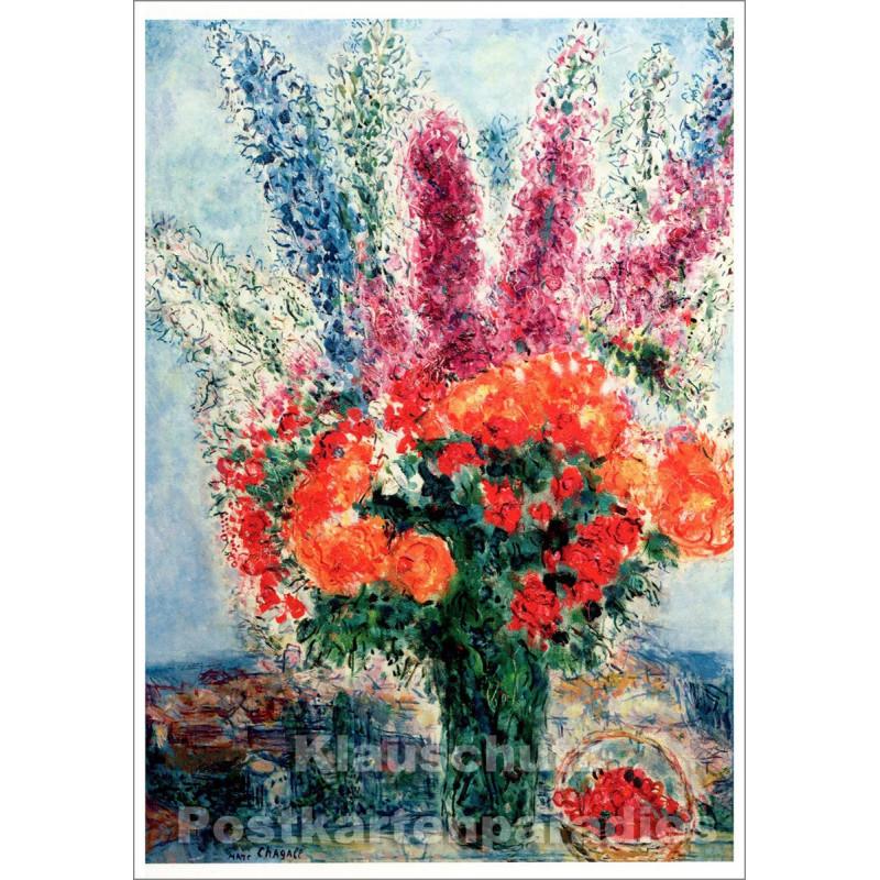 Taurus Kunst Postkarte | Marc Chagall | Vase mit Sommerblumen