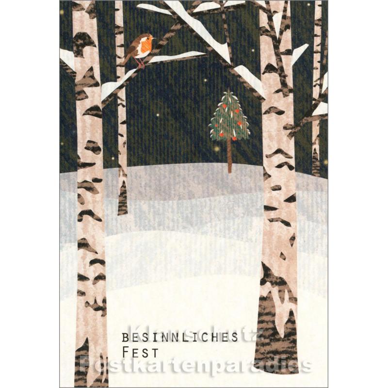 Holzschliffpappe Postkarte Weihnachten von Studio Blankensteyn | Besinnliches Fest