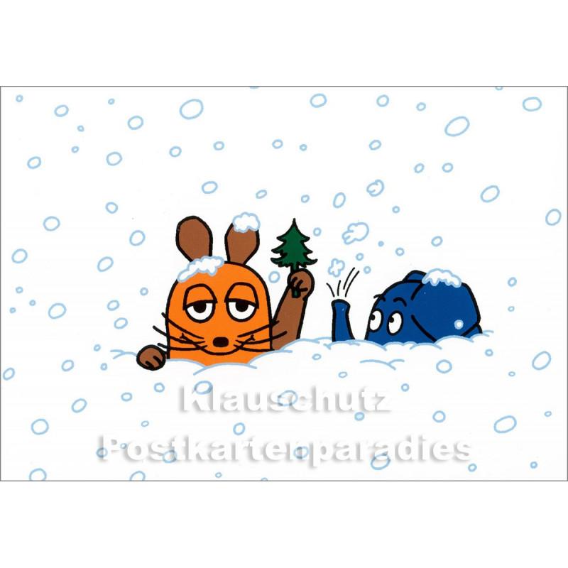 Winter Postkarte | Maus und Elefant sind eingeschneit