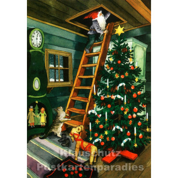 Inge Löök Weihnachtskarte von Taurus   Wichtel und Weihnachtsbaum