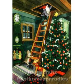 Inge Löök Weihnachtskarte von Taurus | Wichtel und Weihnachtsbaum