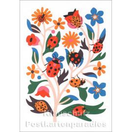 Schöne Doppelkarte von Discordia mit Blumen und Marienkäfern